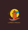 sunset wave lighthouse logo design vector image