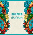 universal invitation floral doodle ornament card vector image