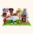 african american father in festive mood having vector image vector image