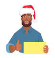 african man in hat holding blank card vector image vector image