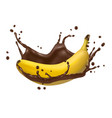 banana and chocolate splash 3d icon vector image vector image