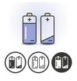 battery full and empty icons vector image vector image