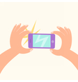 Cartoon hand making a photo by smartphone vector image vector image