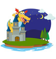 Castle and dragon on the island vector image vector image