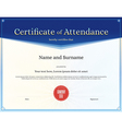 Certificate of attendance template blue vector image vector image