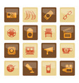 cinema and movie icons over brown background vector image