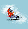 colored hand sketch snowboarder vector image vector image