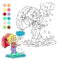 Coloring book rainy weather theme vector image vector image