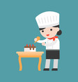 cute pastry chef decorating cake flat design vector image vector image