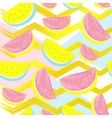 cute watermelon pattern isolated on abstract gold vector image vector image