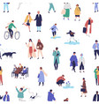 diverse tiny people walking on street seamless vector image vector image
