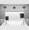 empty photo studio with equipment vector image vector image