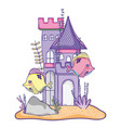 fish couple with castle and seaweed plants vector image