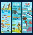 fishing in sea ocean and river fisher equipment vector image vector image