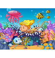 Girl swimming with sea animals underwater vector image