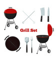 grill set - grill stand cutlery knife cleaver vector image vector image