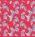 hand drawn tiger seamless pattern big cats vector image