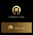 Happy man success leader gold logo