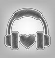 headphones with heart pencil sketch vector image vector image