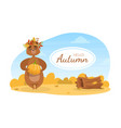 hello autumn banner template cute brown bear in vector image vector image