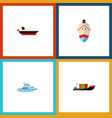 icon flat ship set of cargo shipping transport vector image vector image