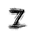 letter z handwritten by dry brush rough strokes vector image vector image