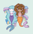 mermaids women with jellyfish and shells vector image vector image