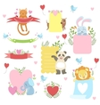 Message Template Set With Cute Animals vector image vector image