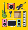 musical instruments and devices on yellow vector image vector image