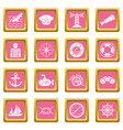 nautical icons set pink square vector image