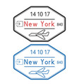 new york usa passport stamps arrival by plane vector image vector image