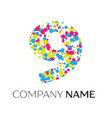 number nine logo with blue yellow red particles vector image vector image