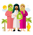 polygamy saudi man and his harem flat vector image vector image