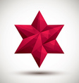 Red six angle star geometric icon made in 3d vector image