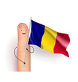 romania flag hold by finger vector image vector image