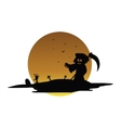 Scary warlock halloween silhouette vector image vector image