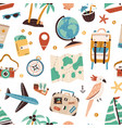 seamless pattern with touristic items like vector image