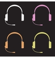 set of color headphones with vector image