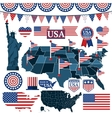 Set of USA symbols flags and maps with states vector image vector image