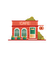 street cafe city public building front view vector image vector image