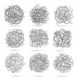 tangle line scribbles set vector image