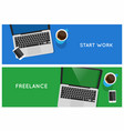 top view laptop computer banners vector image vector image