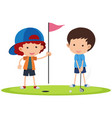 two boys playing golf vector image vector image