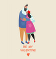 valentines day card with a happy couple vector image vector image