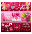 valentines day hearts cupids flowers and gifts vector image vector image
