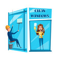 window cleaning cartoon icon set design vector image vector image