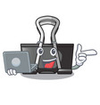 with laptop binder clip in the character shape vector image vector image