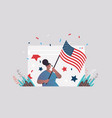 woman in web browser window holding usa flag vector image vector image
