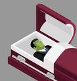 Zombie in coffin Green dead man lying in wooden