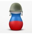 Russian matrioshka in military helmets and flag vector image